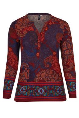 T-shirt van warm tricot met Tunesische hals, Oranje
