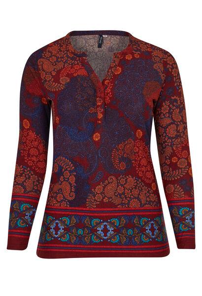 T-shirt van warm tricot met Tunesische hals - Oranje