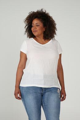 T-shirt van twee stoffen, Ecru