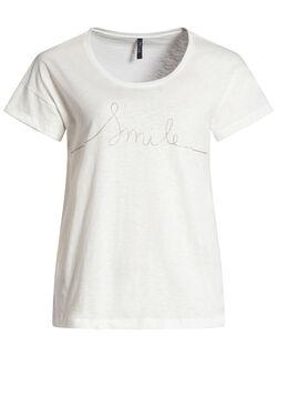 T-shirt met glitterprint, Ecru