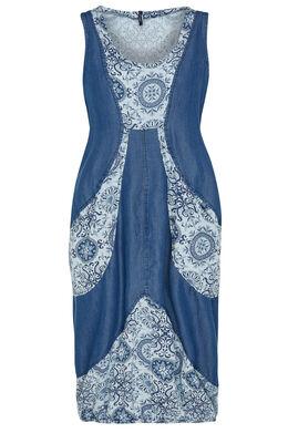 Lange jurk van een mix van jeansstof en bedrukt katoen, Indigo