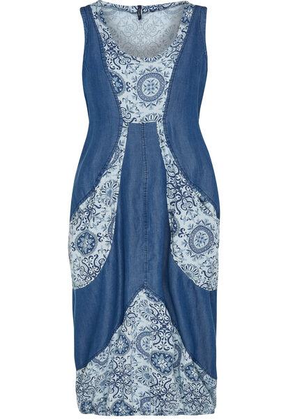 Lange jurk van een mix van jeansstof en bedrukt katoen - Indigo