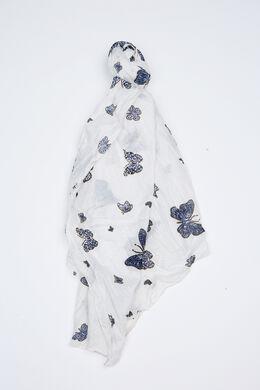 Foulard imprimé papillons, Blanc