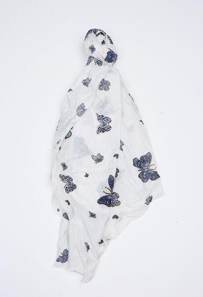 Sjaal met vlinderprint - Wit