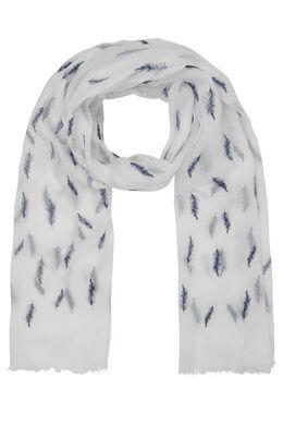 Sjaal met pluimenprint, Marineblauw