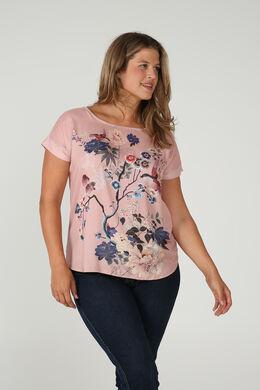 T-shirt satiné imprimé japonisant, Blush