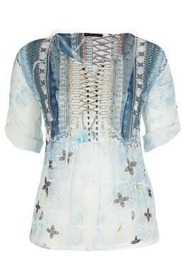 Blouse met etnische print en studs, zijde-viscose Lichtblauw