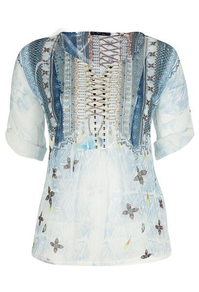 Blouse met etnische print en studs, zijde-viscose - Lichtblauw
