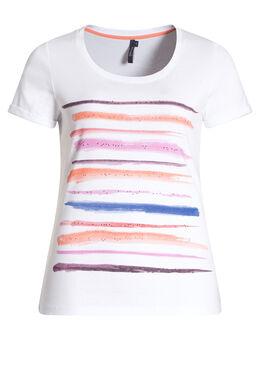 Katoenen T-shirt met print en stras, Wit