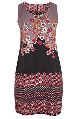 Rechte, bedrukte jurk in sixtiestijl, Fushia