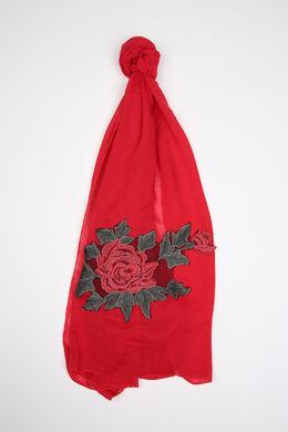 Sjaal met een grote geborduurde bloem, Rood