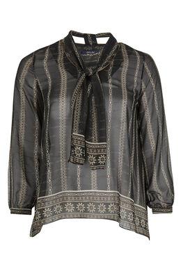 Ruime blouse van voile met lavallière, Zwart