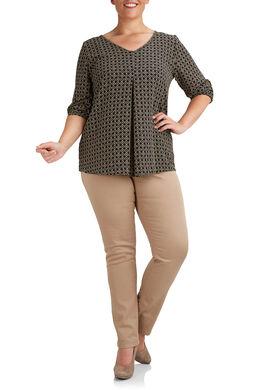 Geometrisch bedrukte blouse, Zwart