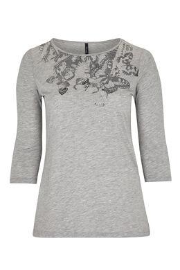 Katoenen T-shirt met vlinderprint, Gris Chine