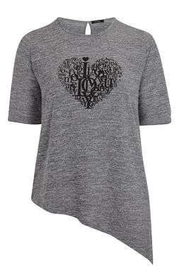 T-shirt in warm tricot met punt, Gris Chine