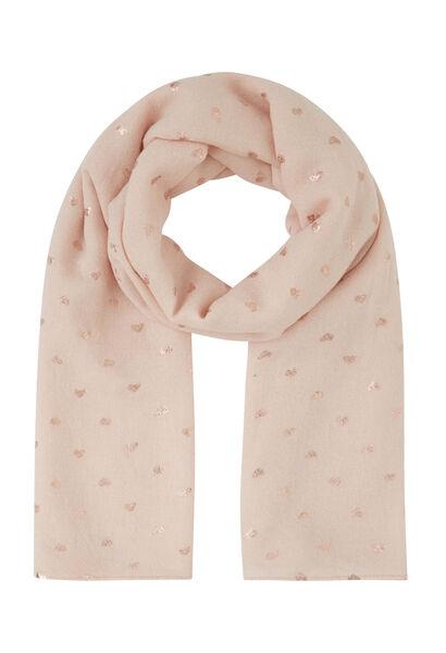 Sjaal met goudkleurige hartjes - Roze