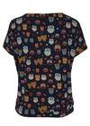 T-shirt in bedrukt tricot met uilenprint, Marineblauw