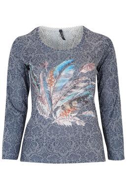 T-shirt print plumes sur fond fleuri, Indigo