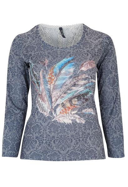 T-shirt met pluimenprint op bloemen - Indigo