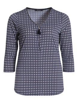 T-shirt in bedrukt koel tricot, Marineblauw