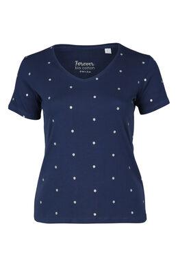 T-shirt met stippen van biokatoen, Indigo