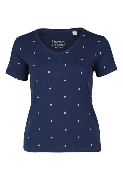 T-shirt met stippen van biokatoen - Indigo