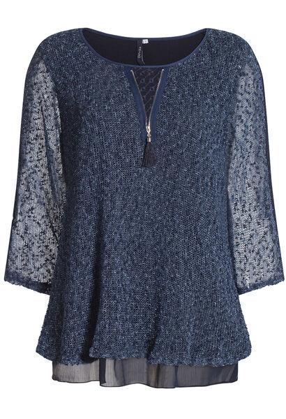 Dubbele trui met kant - Marineblauw