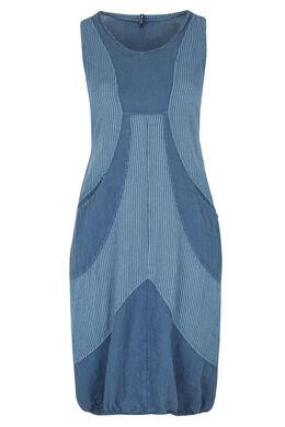 Longue robe en lin imprimé rayures, Indigo