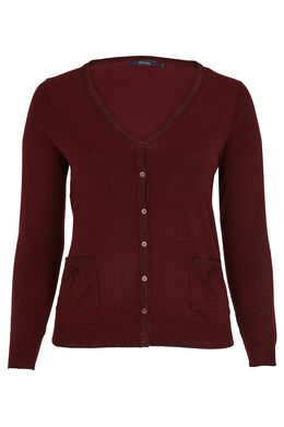 Cardigan met lurex, Bordeaux