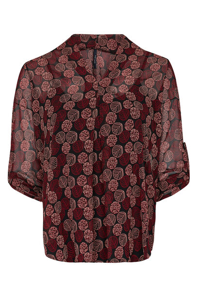 Blouse met herfstprint - Bordeaux