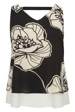 Blouse en voile imprimé de fleurs, Noir