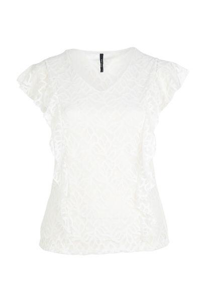 T-shirt van kanttricot - Ecru