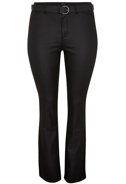 Gecoate rechte broek - Zwart