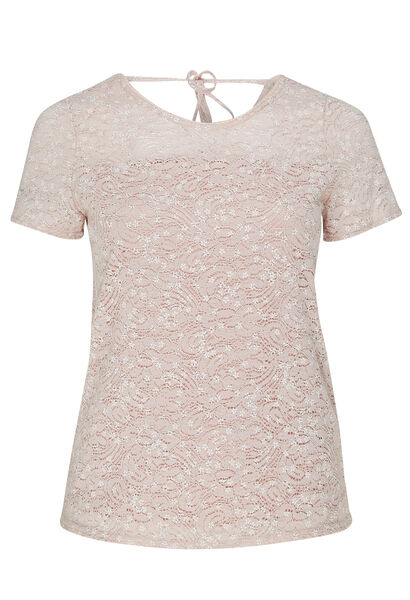 T-shirt en maille de dentelle et imprimé fleuri - Rose