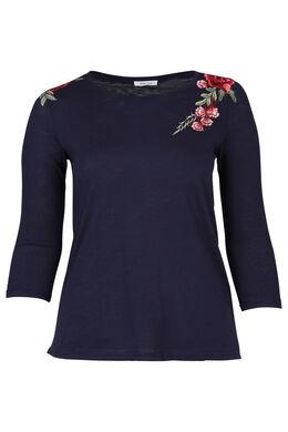T-shirt met geborduurde bloemen, Indigo