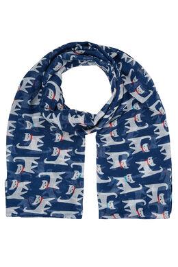 Sjaal bedrukt met katten, Marineblauw