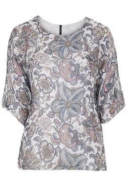 Capevormige zijden blouse met bloemetjes, Wit