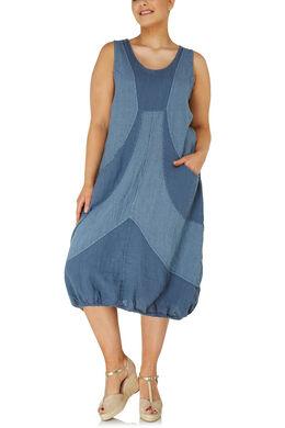 Lange jurk van gestreept linnen, Indigo