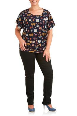T-shirt in bedrukt tricot met uilenprint Marineblauw
