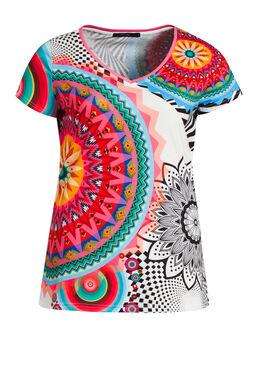 T-shirt bedrukt met rozetten en stras   Wit