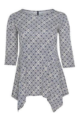T-shirt imprimé géométrique, Marine