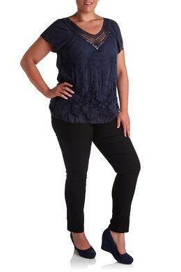 Geborduurde blouse en hals met knoopwerk, Marineblauw