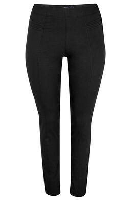 Slim fit broek met sierstiksels, Zwart