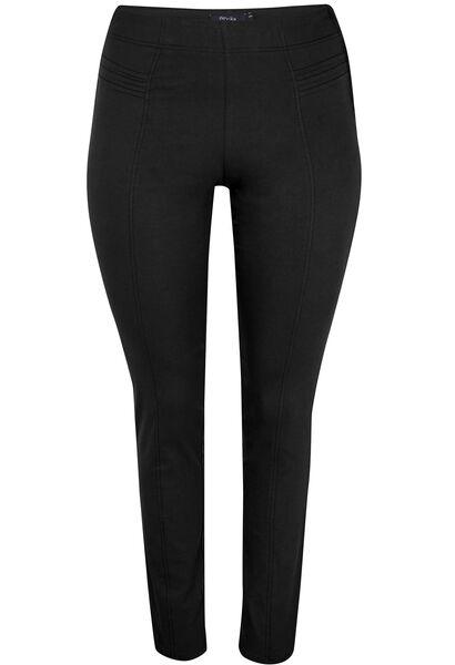 Slim fit broek met sierstiksels - Zwart
