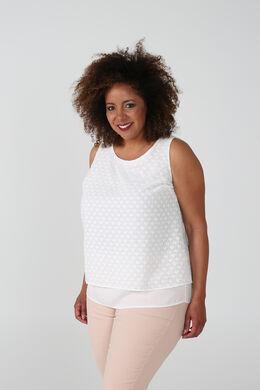 Mouwloze blouse met bloemetjesprint, Ecru