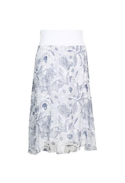 Soepele rok met bladeren en bloemen - Wit