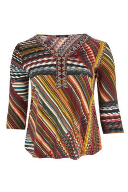 T-shirt van bedrukt fantasietricot, Multicolor