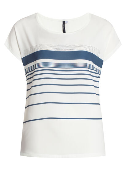 T-shirt bi-matière avec print rayures - Ecru