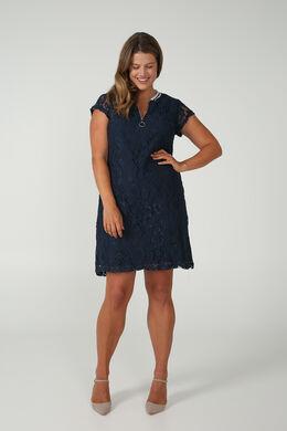 Kanten jurk met een kraag van tricot, Marineblauw