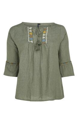 Linnen blouse met borststuk, Kaki